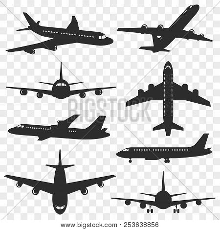 Airplanes Silhouettes Set. Plane Silhouette Isolated On Transparent Background. Passenger Aircraft I