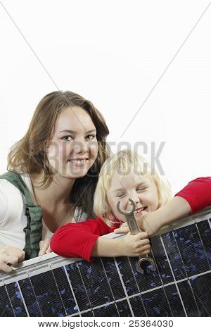 female worker and girl