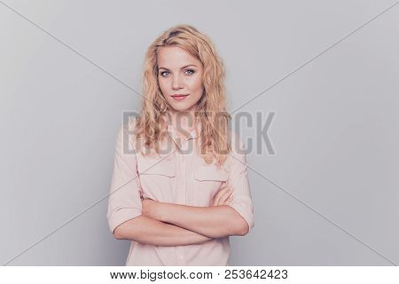 Attractive Cute Curly-haired Blonde Gorgeous Pretty Girl Wearing Casual Shirt With Folded Hands. Cop