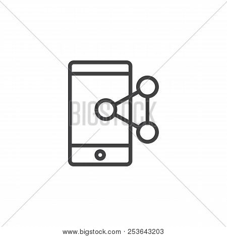 Share Connect Mobile Phone Outline Icon. Linear Style Sign For Mobile Concept And Web Design. Mobile