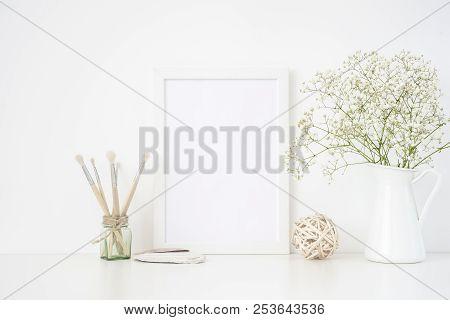 Stylish White Frame Mockup A4 In Interior. Frame Mock Up Background For Poster Frame For Bloggers, S
