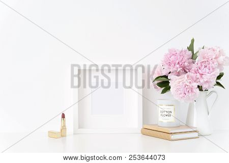 White Square Blank Frame Mockup. Feminine Still Life Composition, Floral Bouquet Of Pink Peonies In