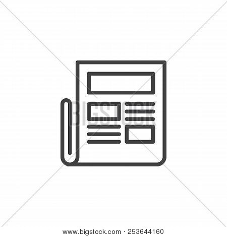 Newspaper Outline Icon Linear Style Sign For Mobile Concept And Web Design News Simple