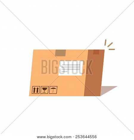 Carton Box. Concept Of Fast Delivery. Flat Vector Illustration Isolated On White Background.
