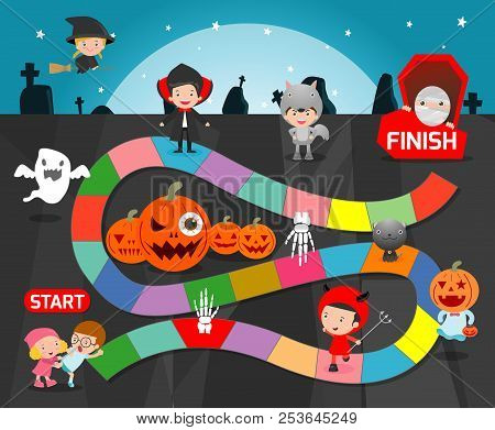 Board Game With Halloween,games For Kids, Child Board Game Vector Illustration