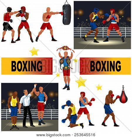 Boxing Colorful Set Consist Of Boxers Fighting In Ring Man With Punching Bag Referee Announces Victo