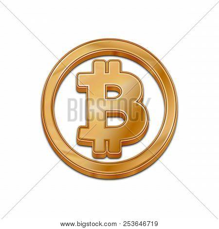 Golden Bitcoin Symbol Isolated Web Vector Icon. Bitcoin Trendy 3d Style Vector Icon. Raised Symbol I