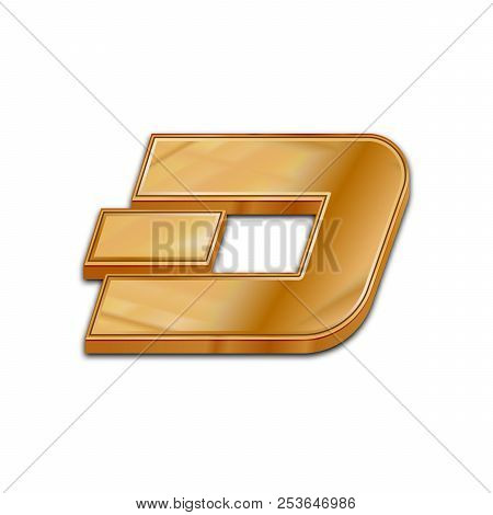 Golden Dash Coin Symbol Isolated Web Vector Icon. Dash Coin Trendy 3d Style Vector Icon. Raised Symb