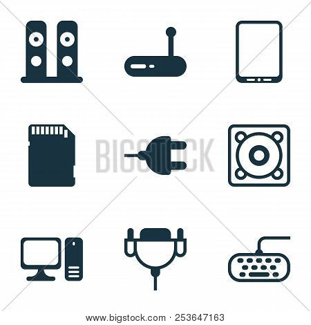 Computer Icons Set With Personal Computer, Keyboard, Tablet Phone And Other Desktop Computer Element