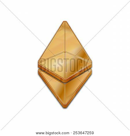 Golden Ethereum Coin Symbol Isolated Web Vector Icon. Ethereum Coin Trendy 3d Style Vector Icon. Rai