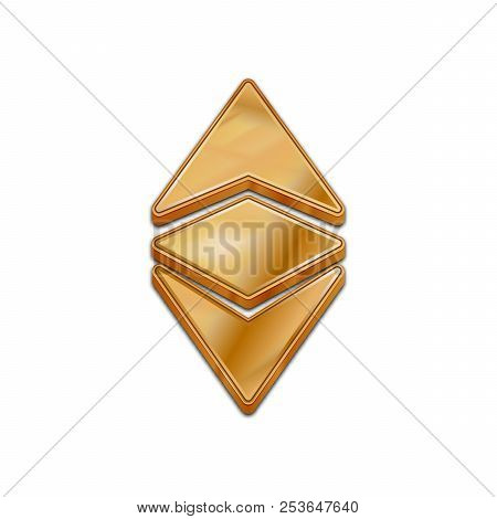 Golden Ethereum Classic Coin Symbol Isolated Web Vector Icon. Ethereum Classic Coin Trendy 3d Style