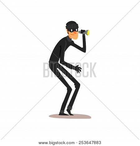 Male Thief In Mask With Flashlight, Robber Cartoon Character Committing Crime Vector Illustration On