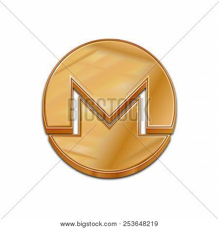 Golden Monero Coin Symbol Isolated Web Vector Icon. Monero Coin Trendy 3d Style Vector Icon. Raised