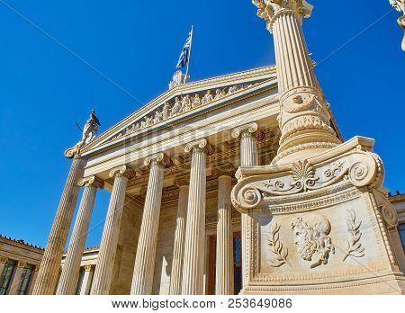 Athens, Greece - June 30, 2018. Principal Facade Of The Academy Of Athens, Greece National Academy,