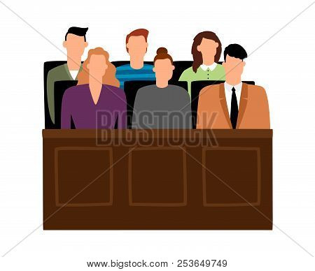 Jury trial. Jurors court in courtroom, prosecution people vector illustration poster