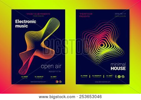 Music Wave Poster. Sound Flyer With Distorted Stripes. Vector Illustration. Abstract Background With