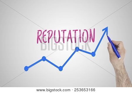 Growing Reputation Concept On White Board. Businessman Draw Accelerating Line Of Improving Reputatio