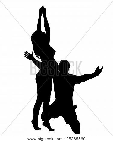 The Silhouette Of The Pregnant Woman And Men.