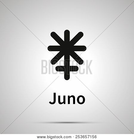 Juno Astronomical Sign, Simple Black Icon With Shadow
