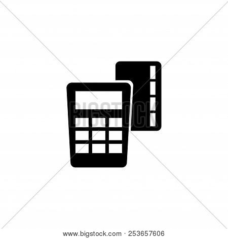 Credit Card Pay Pos Terminal. Flat Vector Icon Illustration. Simple Black Symbol On White Background