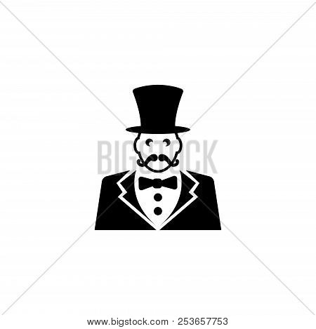 Ringmaster, Circus Ceremony Master With Hat. Flat Vector Icon Illustration. Simple Black Symbol On W