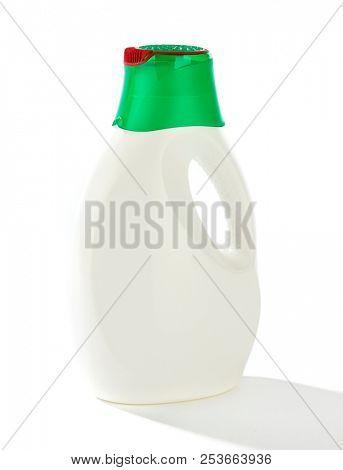 White laundry detergent bottle isolated on white background.