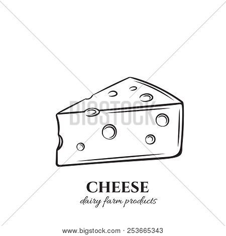 Cheese Outline Vector Icon. Slice Of Dairy Product For Food Menu Design. Retro Style.