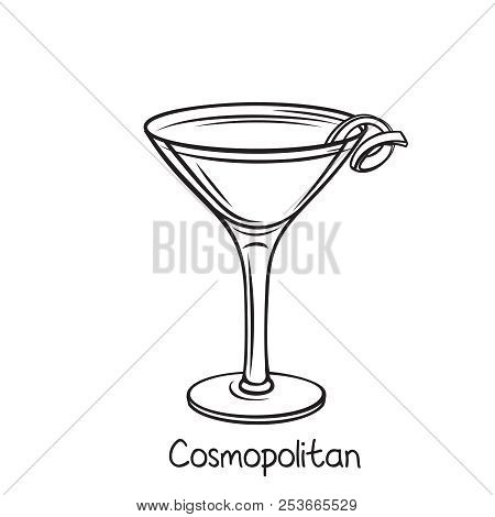 Vector Glass Of Cosmopolitan Cocktail With Lime Slice In Hand Drawn Style. Retro Illustration Summer