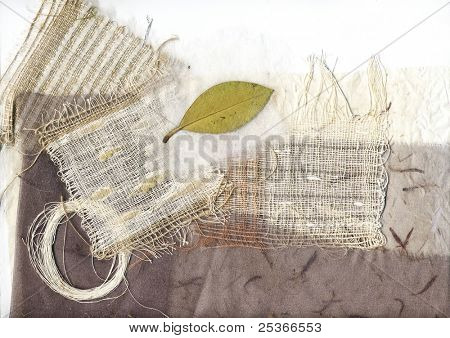 textile background with green leaf