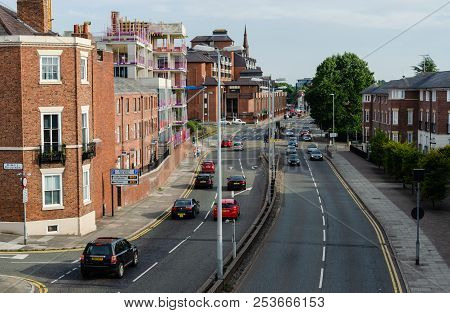Chester, Uk: Aug 6, 2018: Traffic Drives Along The St. Martins Way In Chester. This Dual Carriageway