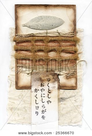 Abstract composition with japanese handwriting, white leaf and  textile.