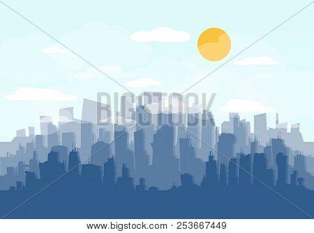 City Skyline Vector Illustration. Urban Landscape. Daytime Cityscape In Flat Style. Flat City. Set O