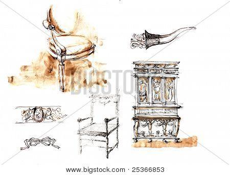 brown ink sketch poster