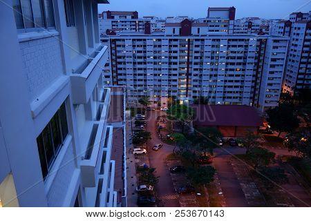 Singapore Public Housing Hdb Flats.  Landscape At Night