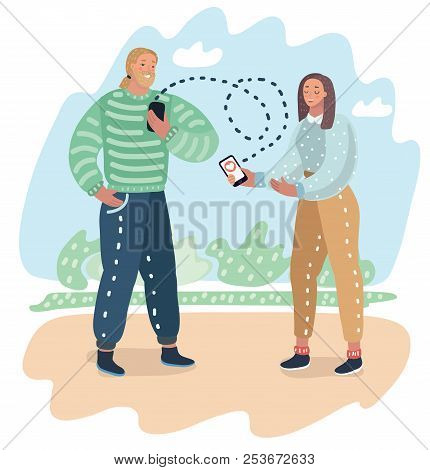 Dating Application On Mobile Phone As Concept. Couple Of Guy And Girl Is Sending Each Other To Smart
