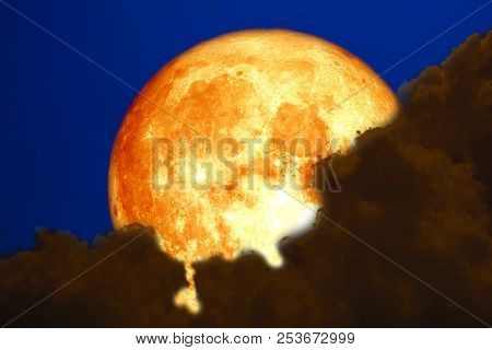 Full Blood Moon Back Over Silhouette Cloud Night Sky