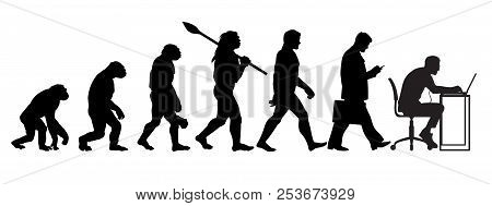 Silhouette Of Theory Of Evolution Of Man. Vector