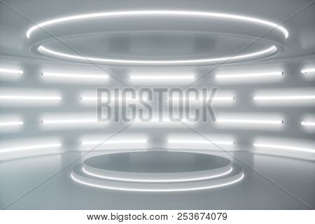 Interior White Futuristic Background, Sci-fi Interior Concept. Empty Interior With Neon Lights 3d Il