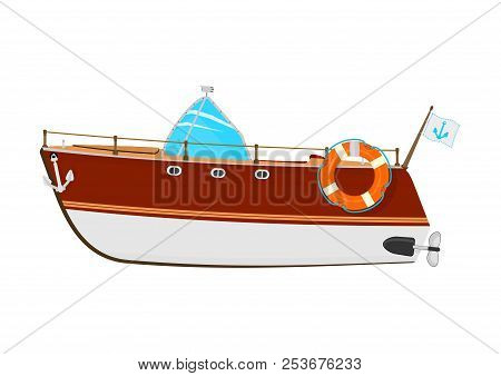 Motorboat. Cartoon Power Boat On A White Background. Side View. Flat Vector.
