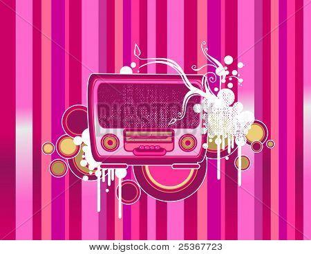 old-fashion pink radio -vector illustration