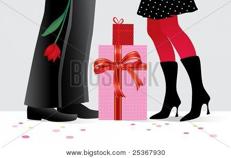 romantic couple with special presents at party- vector illustration