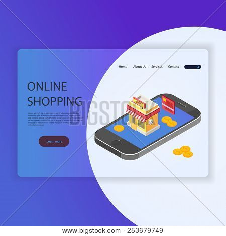 A Modern Flat Design Concept For Web Pages For A Website And A Mobile Site. Template Of The Landing