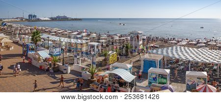 Sochi, Russia - August 13, 2018: Panorama Of The Riviera Beach. Many People From Russia Come To The