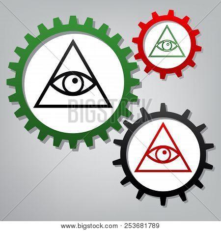 All Seeing Eye Pyramid Symbol. Freemason And Spiritual. Vector.