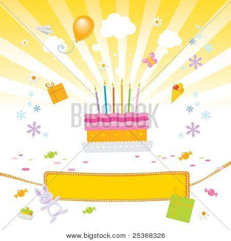 kids birthday party vector illustration with birthday-cake, presents, candies and a nice banner for your text