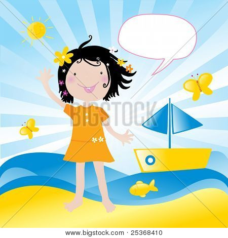 in holiday at the sea.Vector illustration of a little happy girl with flowers in her hair saying hello
