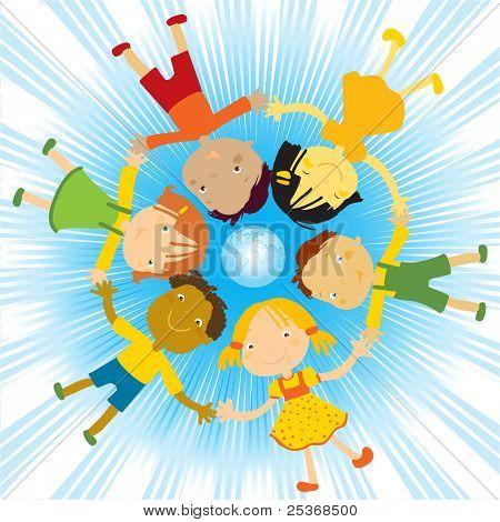 niños felices con sus manos alrededor de la ilustración del vector de globo