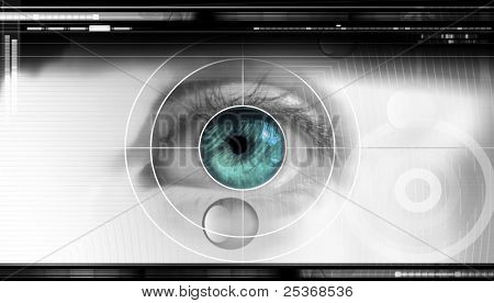 high-tech technology background with targeted eye on computer display for optical research poster