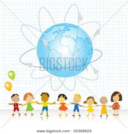 happy kids (all races) holding their hands and planet earth with paper plains traveling vector illustration