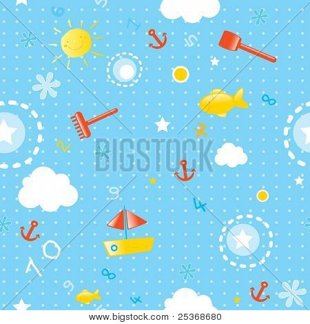 baby wallpaper- seamless pattern for summer season with marine elements (fishes, toys, boats and smiling sun) vector background